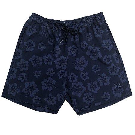 Shorts Masculino Hawewe Patch Hibisco Preto