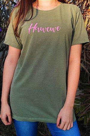 Camiseta Hawewe Cursive Verde Estonada
