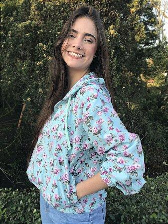 Jaqueta Corta Vento Hawewe Feminino Floral Verde