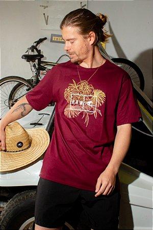 Camiseta Hawewe Haw Folhagens Bordô