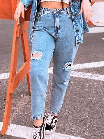 Calça Mom Hawewe Destroyed Jeans