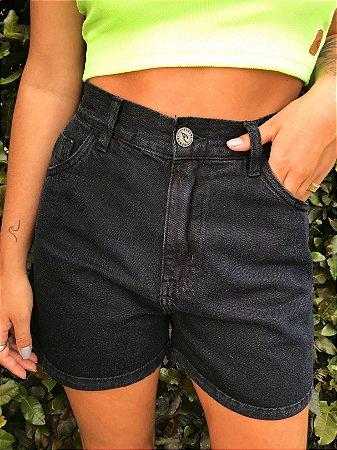 Shorts Jeans Hawewe Mom Preto