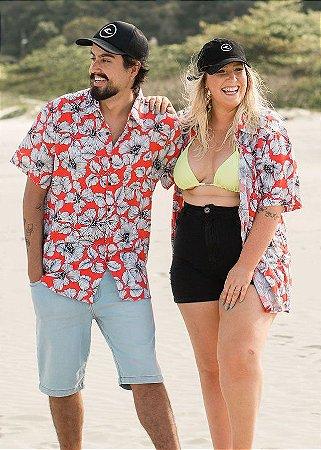 Camisa Hawewe Floral Unissex Waikiki Vermelha