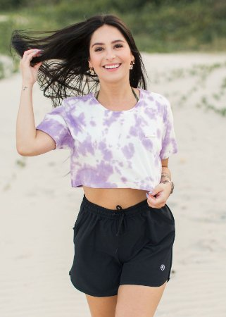 Cropped Hawewe Single Wave Tie Dye Lavanda