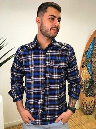 Camisa Hawewe Xadrez em Flanela Unissex Azul Royal um Bolso