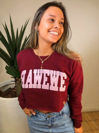 Moletom Cropped Hawewe College Bordô