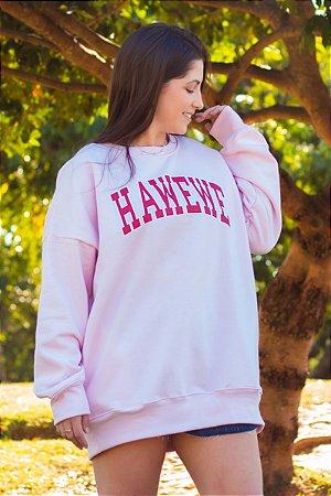 Casaco Moletom Hawewe Maxi Oversized College Rosa