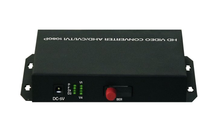 CONVERSOR DE FIBRA ÓPTICA PARA VÍDEO BNC 4 CANAIS HD 1080P