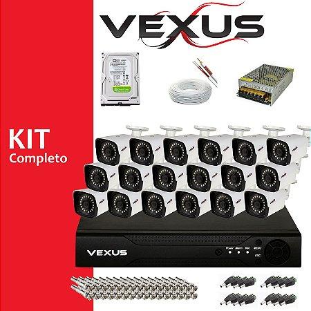 Kit Monitoramento 16 Câmeras VEXUS Hd 720p + Dvr 16 Canais  Cnf