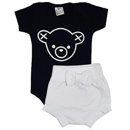 Conjunto Bebê Body Urso Preto + Shorts Tapa Fralda