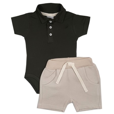 Conjunto Bebê Body Polo Verde Escuro + Shorts Saruel Marrom