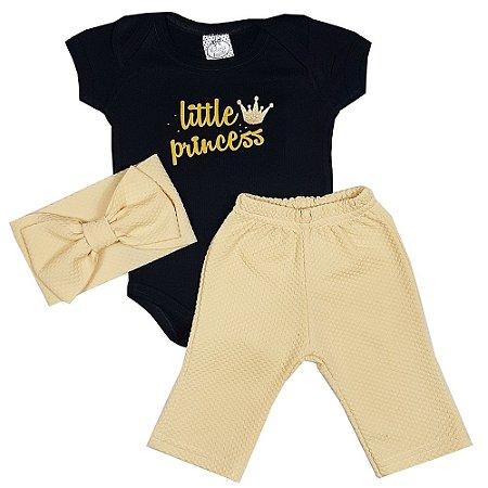 Conjunto Bebê Little Princess 3 Peças Amarelo