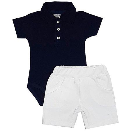 Conjunto Bebê Body Polo Azul Marinho + Shorts Branco