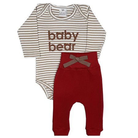 Conjunto Bebê Body Baby Bear Listrado + Calça Ribana