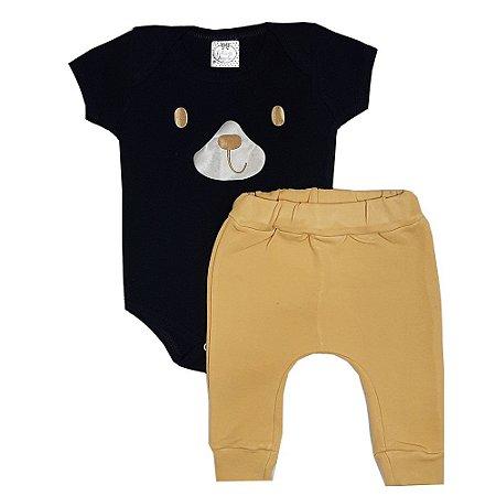Conjunto Bebê Body Preto Urso + Calça Saruel Amarela
