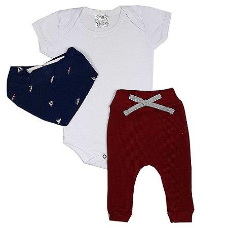 Conjunto Bebê Body Branco + Calça Vermelha + Bandana