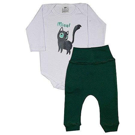 Conjunto Bebê Miau Verde