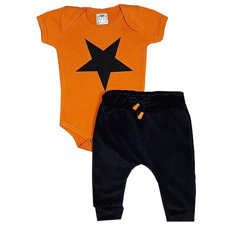 Conjunto Bebê Estrela Laranja
