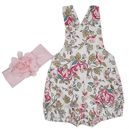 Jardineira Bebê Modelo Jumper Floral Com Faixa