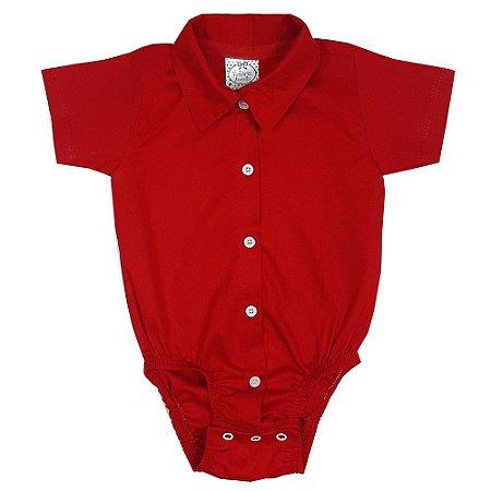 Body Bebê Tecido Vermelho