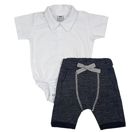 Conjunto Bebê Body Tecido + Bermuda Saruel