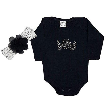 Body Bebê Baby Preto + Turbante
