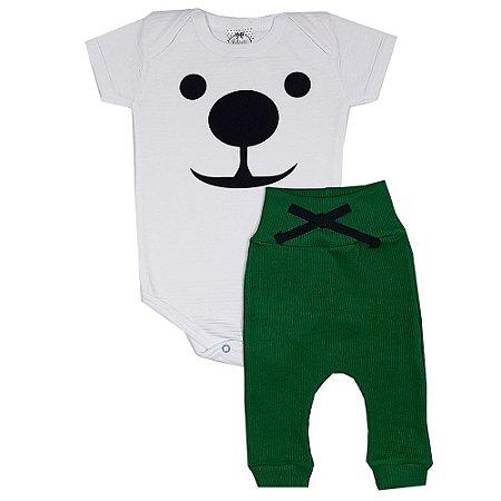 Conjunto Bebê Body Dog + Calça Ribana Verde