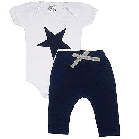 Conjunto Bebê Body Estrela Branco + Calça Saruel Azul Marinho