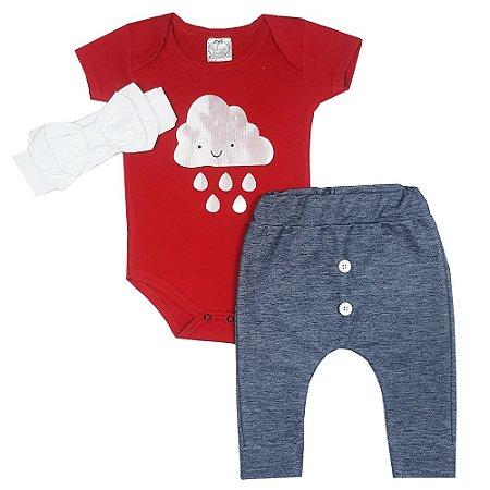 Conjunto Bebê Body Nuvem + Calça Saruel Jeans + Faixa