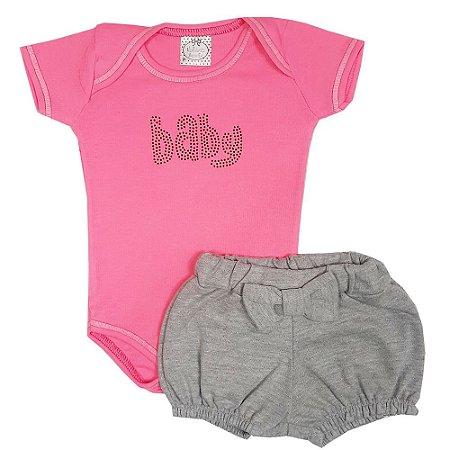 Conjunto Bebê Body Baby Rosa + Shorts Cinza
