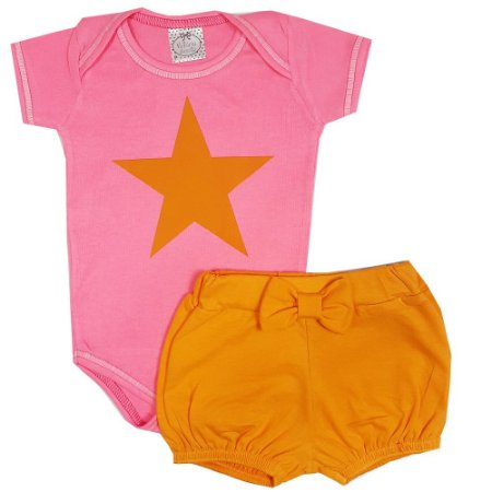 Conjunto Bebê Body Estrela Rosa + Shorts