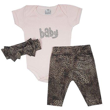 Conjunto Bebê Body Baby Rosa + Legging + Turbante