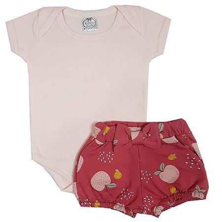 Conjunto Bebê Body Rosa + Shorts Maça
