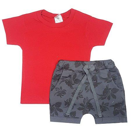 Conjunto Infantil Camiseta + Bermuda Saruel Floral