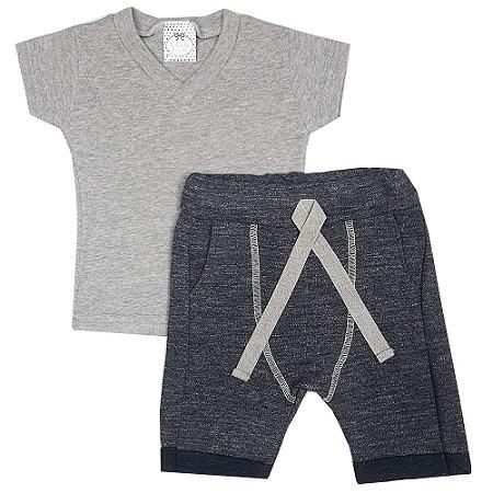 Conjunto Bebê Camiseta Cinza + Bermuda Saruel