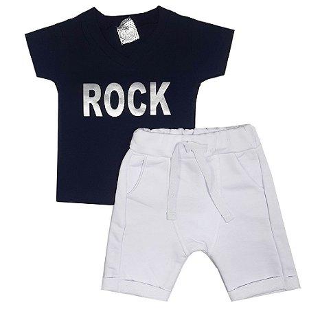 Conjunto Bebê Camiseta Azul Marinho Rock + Bermuda Saruel Branca