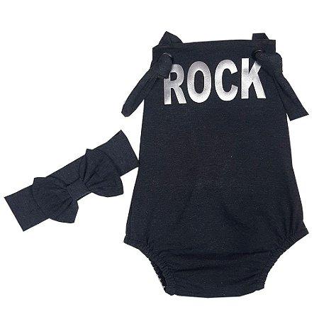 Jardineira Bebê Jumper Rock Com Turbante
