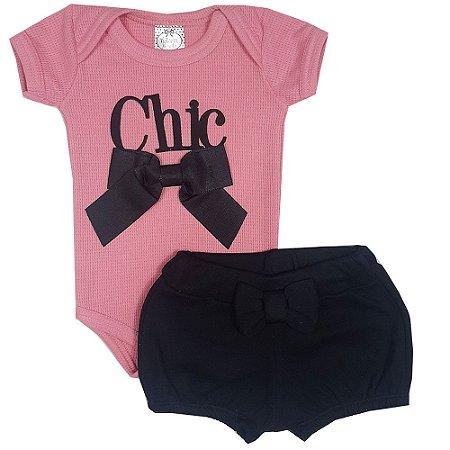 Conjunto Bebê Body Chic Rosa + Shorts Preto