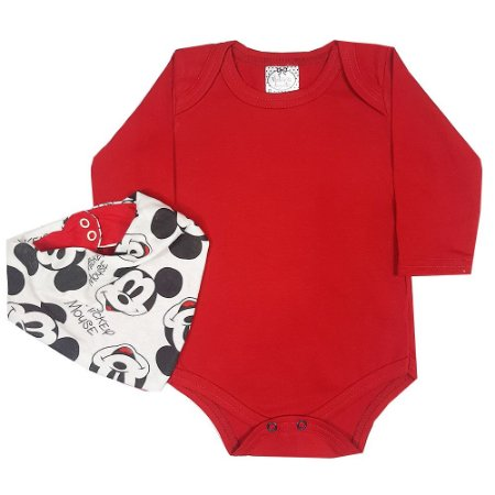 Body Bebê Vermelho + Bandana Mickey