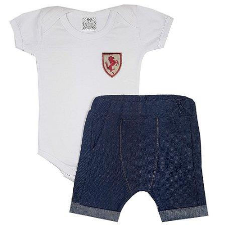 Conjunto Bebê Body Branco + Bermuda Saruel Jeans