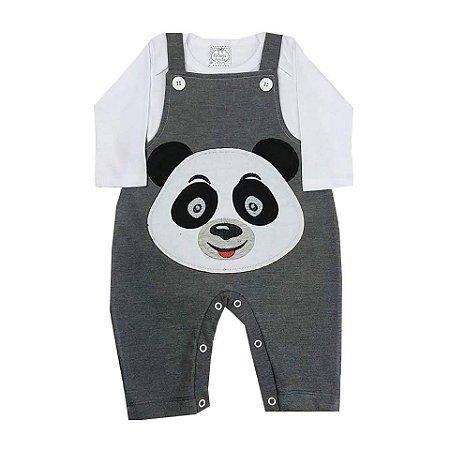 Jardineira para Bebê Cinza Mescla Com Camiseta Manga Longa Branca