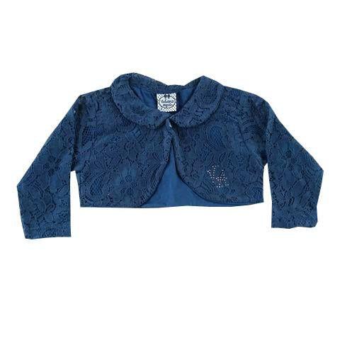 Bolero Infantil em Renda Azul Marinho