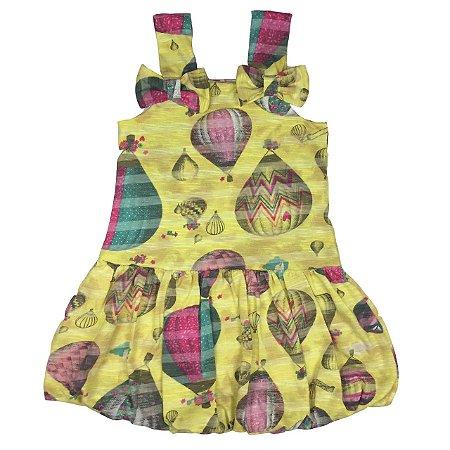 Vestido Infantil Balone Amarelo Estampa Balão