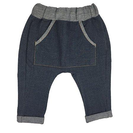 Calça Bebê Saruel Jeans Com Bolso Frontal
