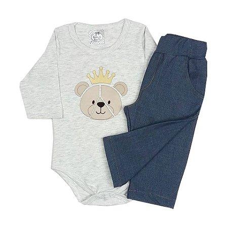 Conjunto Bebê Body Básico Manga Longa Mescla Com Aplique e Calça Imitando Jeans