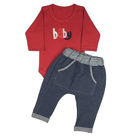 Conjunto Bebê  Body Basico Manga Longa Vermelho Com Calça Saruel Imitando Jeans