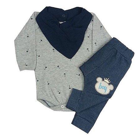 Conjunto Bebê Body Manga Longa Mescla e Calça Saruel Imitando Jeans Com Bandana Babados Azul Marinho