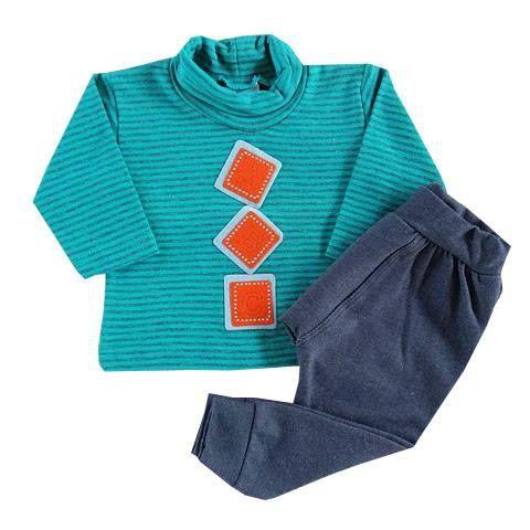Conjunto Bebê Calça Jeans e Blusa Gola Role