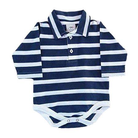 Body Bebê Gola Polo Manga Longa  Azul Marinho com Listras Brancas
