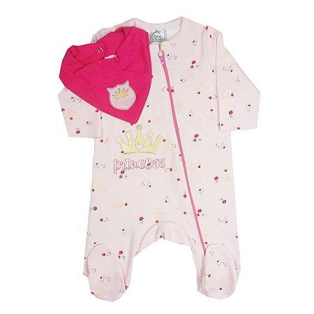 Macacão Bebê de Inverno Manga Longa Com Ziper e Pezinho Rosa Floral com Bandana Babador Rosa Pink